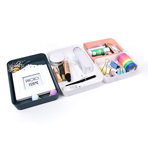 Juego de 4 Organizadores de Cajón, Cajas Bandejas de Plástico Apilables Almacenamiento para Cajones, Estilo Moderno Bandejas de Maquillaje Papelería, Separador de Cajones para Oficina