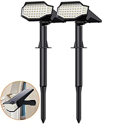 Solar Lights Outdoor 66LED, [2200mAh Super Bright] Solar Powered Landscape Spotlights 2-in-1 Waterproof Security Wall Lights 3 Modes Solar Landscaping Lighting for Yard Garden Driveway Patio - 2 Pack