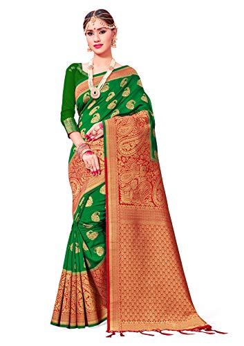 Sarees for Women Banarasi Art Silk Woven Saree l Indian Wedding Traditional Wear Sari and Blouse Green