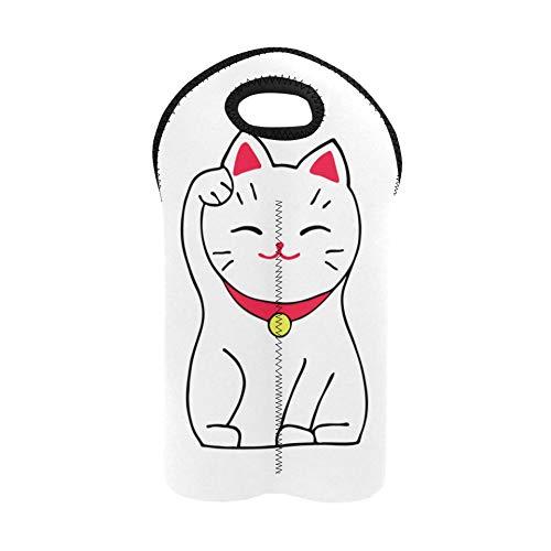 Bolsa para botellas de vino, diseño de gato afortunado de Japón, bolsa doble para botellas de vino, bolsas de regalo para botellas de vino, de neopreno grueso, mantiene las botellas protegidas.