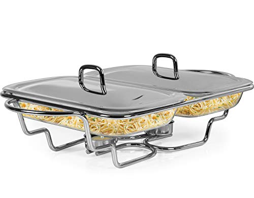 Galashield Chafing Dish Food Warmer Stainless Steel with 2 Glass Dishes Buffet Server Warming Tray (1.5-Quart Each tray)