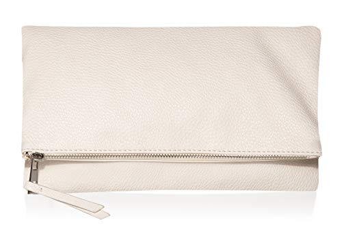 The Drop Southampton Zipper Foldover Clutch, Ivory