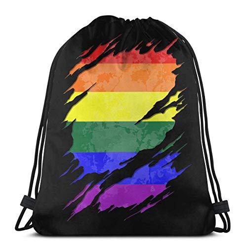 LGBT Gay Pride - Mochila de hombro con diseño de bandera de arco iris, con cordón, para hombres y mujeres