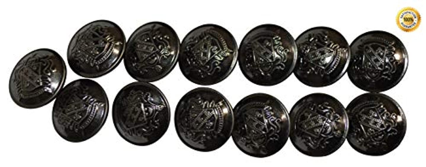 Set of 13 Premium Metal Shield Coat of Arms Buttons 25mm, 1 Inch for Pea Coats, Overcoats, Winter Coats, Military/Army Coats, Blazers, Suit Jackets, Sport Coats (Antique Silver) uizkjosamc752525