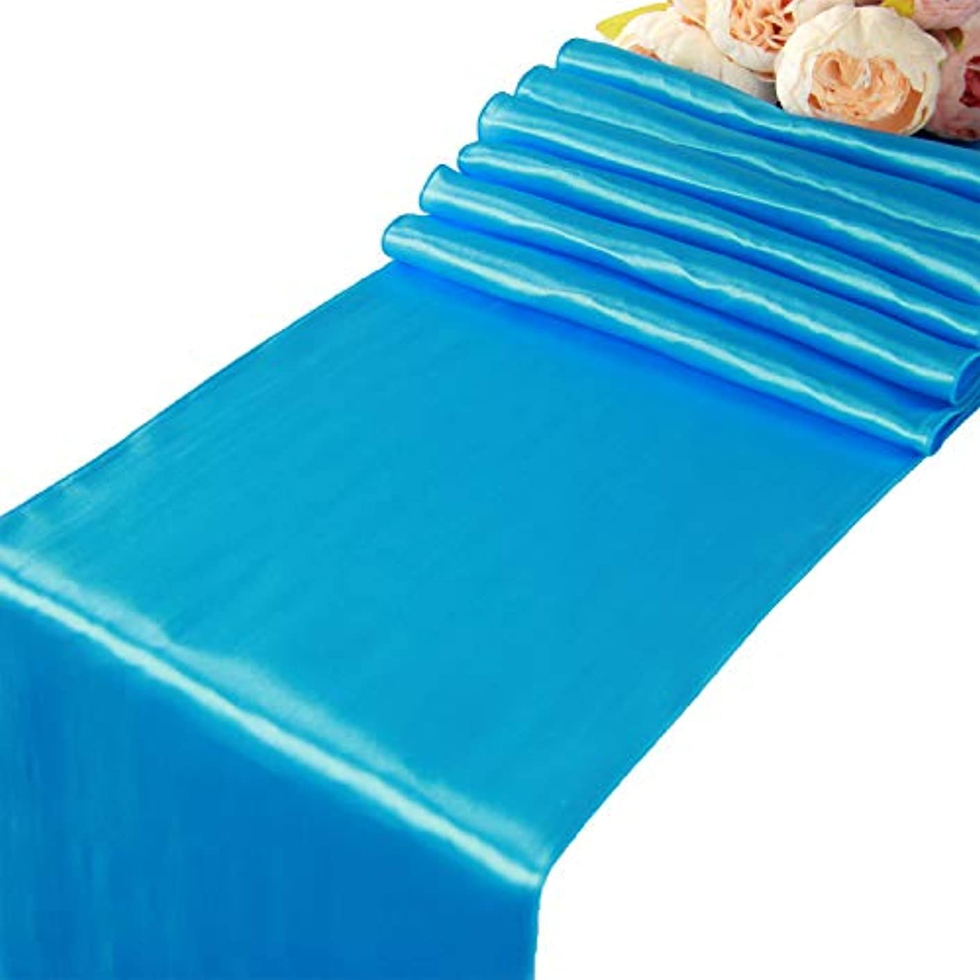 Turquoise Satin Table Runners - 10 pcs Wedding Banquet Party Event Decoration Table Runners (Turquoise, 10)