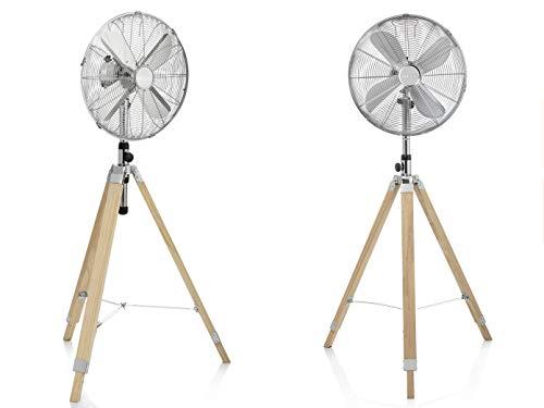 Design Standventilator mit Holzstativ im 2er Set oszillierend& Höhenverstellba, Ø 40cm