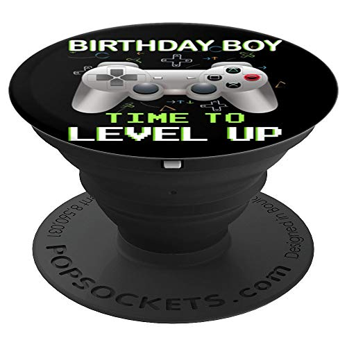 Birthday Boy Time to Level Up Video Game Birthday Boys Gift PopSockets Grip and Stand for Phones and Tablets