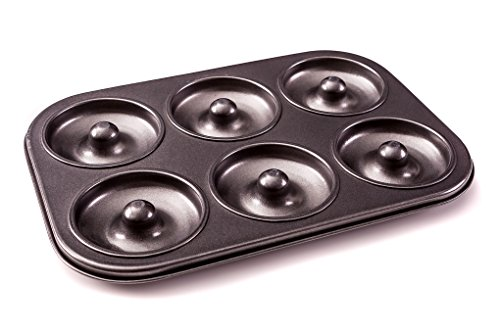 Donut Pan - 6 hole non stick tray for baking Healthier Mini Doughnuts, Bagels and Cakes
