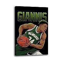 バスケットボール選手GiannisAntetokounmpoポスター装飾画キャンバスウォールアートリビングルームポスター寝室絵画家の装飾壁画30x45cm(12x18inch)内枠