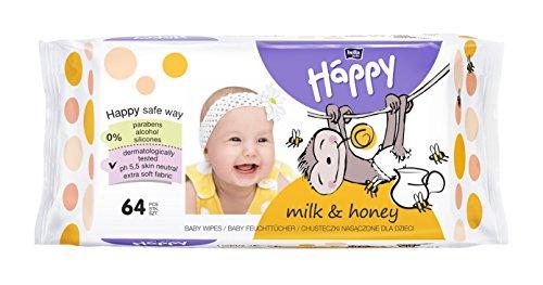 bella baby Happy Feuchttücher mit Milch & Honig, 1er Pack (1x 64 Stück) vielseitig, sanft und weich zur Babyhaut