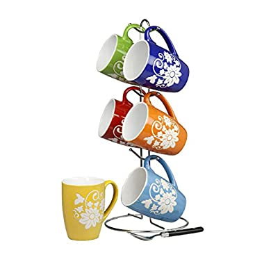 Home Basics 6 Piece 11 Ounce Floral Ceramic Mug Set with Display Stand, Multi color