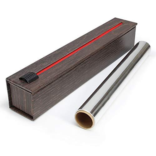 ChicWrap Dispensador de papel de aluminio de grano de madera con rollo de papel de aluminio profesional de 12 pulgadas x 30 pies, reutilizable con tecnología de cortador deslizante
