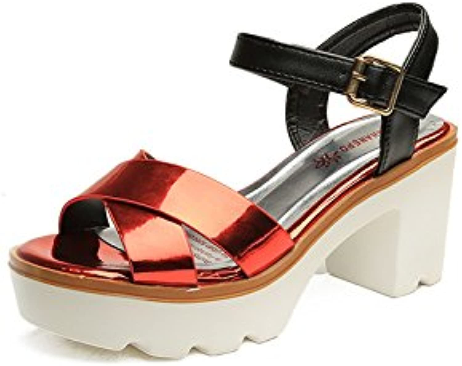 KAI-Fish mouth shoes in high heel sandals with thick waterproof all-match,Claret,Thirty-six