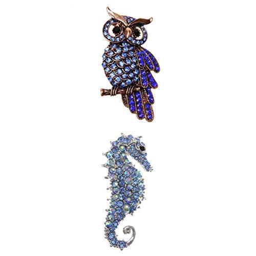 Colcolo 2 * Broche de boda Búho + caballito de mar accesorios joyas decorado ropa azul