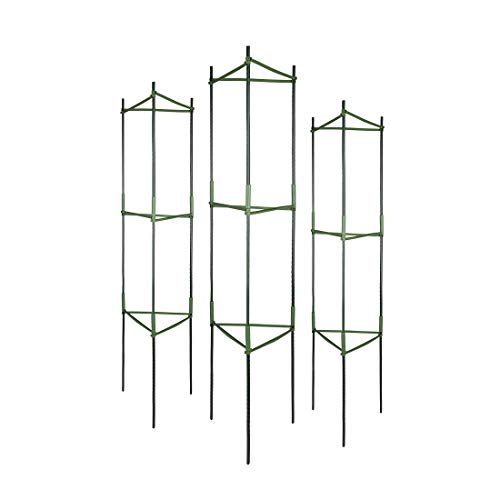 GROWNEER 3 Packs Plant Cages Assembled Tomato Garden Cages Stakes Vegetable Trellis, with 9Pcs Clips...