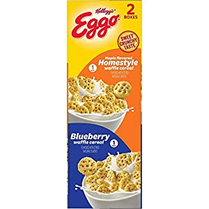 Kellogg's Kellogg's Eggo Maple Flavored Homestyle Waffle Cereal Variety Pack 2 Boxes Net Wt 28.2 Ounce , 28.2 Ounce