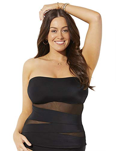 Swimsuits For All Women's Plus Size Mesh Wrap Bandeau Tankini Top 24 Black
