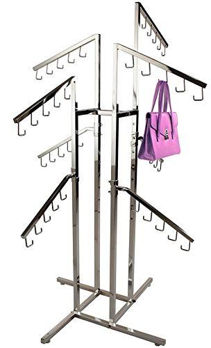 Purse Rack Only Garment Racks Deluxe Handbag Rack – Heavy Duty Commercial Grade Chrome Handbag Rack 8 Adjustable Height Slant Arms Perfect for Handbags Purses Backpacks and More
