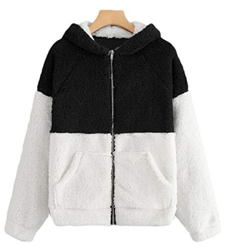 SOWTKSL Damen Kapuzenpullover, Winter, warm, Wolle, Reißverschluss Gr. XS, 2
