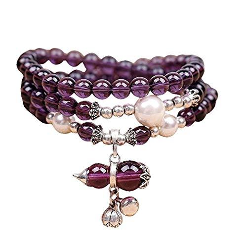 Natural Amethyst Beads Bracelet, 6mm Purple Bead Stretchy Gourd Bracelet Chakra Jewelry Good Luck Mala Necklace Thanksgiving Gift Unisex