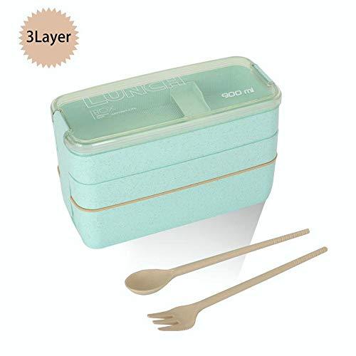 LIULIUKEJI Brotdose, Brotdose 3 Schichten 900 ml, ökologische Bento-Box aus Weizenstroh, Bento-Box mit Gabel und Löffel, Bento-Box für Erwachsene und Kinder (Grün/Pink/Beige)