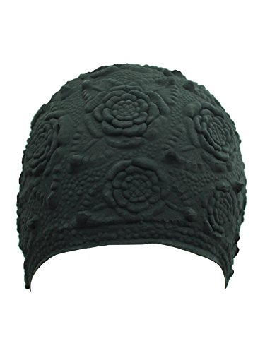 Black Floral Embossed Latex Swim Cap