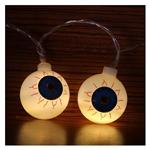 LED Halloween Lichterkette Augapfel Batterie Licht Grausigkeits Atmosphären Dekoration Glühbirne für Wohnzimmer Halloween Hochzeiten Party Beleuchtung (10LED Weiß)