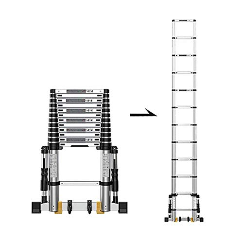 GLP - Escalera telescópica extensible, con soporte fijo antideslizante, aluminio, plegable, para...