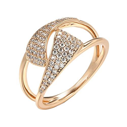 Micro incrustaciones de cera Geometría de circón natural Anillo fino Mujeres Joyería de boda étnica7RoseGold