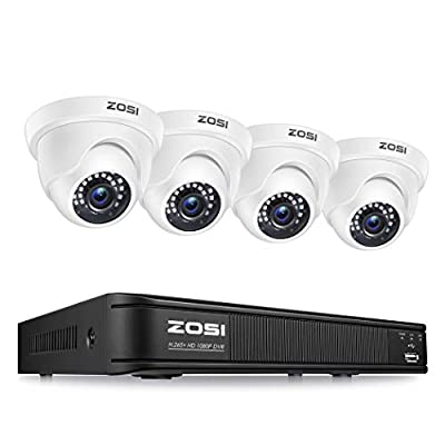 ZOSI H.265+ 5MP 2K Dome Security Camera System for Houses, 4CH CCTV DVR with Hard Drive 1TB for 24/7 Recording, 4X 5MP (1920P) Surveillance Camera Indoor Outdoor,80ft Night Vision, Motion Alerts