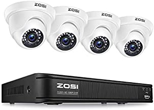 ZOSI 1080P H.265+ Home Security Camera System,5MP Lite 8 Channel Surveillance DVR and 4 x 1080p Weatherproof CCTV Dome Camera Outdoor Indoor with 80ft Night Vision, Remote Access (No Hard Drive)