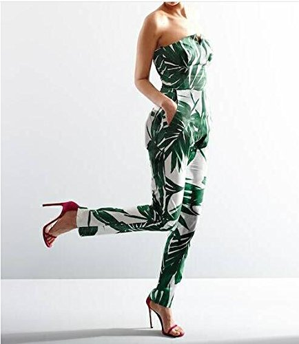 Aro Lora Women's Leaf Print Strapless Jumpsuit Long Pants Rompers Small Floral