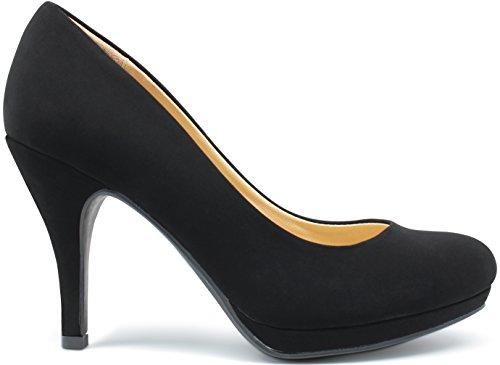 MARCOREPUBLIC Rome Memory Foam Cushion Womens Low Platform Heels Comfort Pumps - (Black Nubuck) - 6