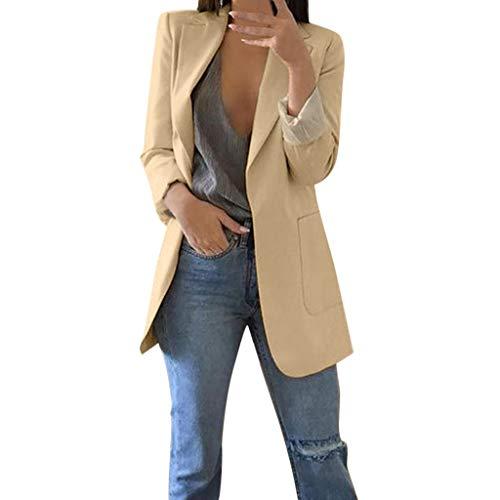 SHOBDW Mujeres Abrigo Blazer Traje Otoño Invierno Camisetas de Manga Larga Slim Chaqueta Señoras Formal de la Oficina de Negocios Outwear(Caqui,M)