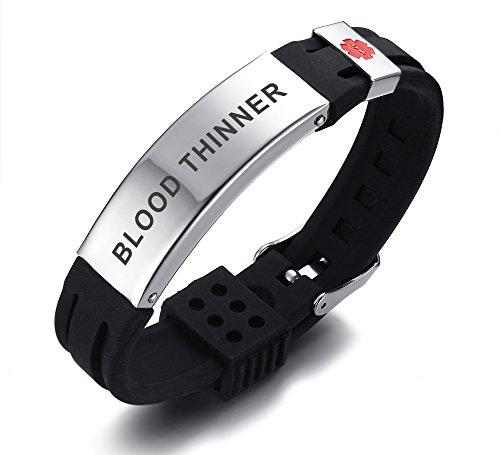 PJ JEWELLERY Blood Thinner Silikon Comfort Sport Armband Notfall Medical Alert ID Armband für Männer Frauen Kid Boy