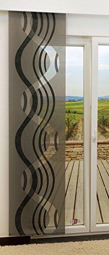 LYSEL Schiebegardine Stream transparent mit Linien in den Maßen 245 cm x 60 cm grau/Schwarzgrau