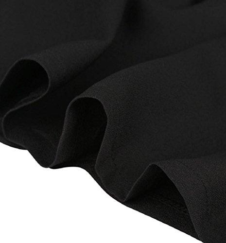 Rcool Frauen Mode schwarzen Rock mit Schulterriemen plissiert Mini Kleid Schwarz (XXL) - 6