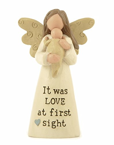Heaven Sends 'It was Love at first sight' Winged Angel Holding a Baby Figure 9.5 CM