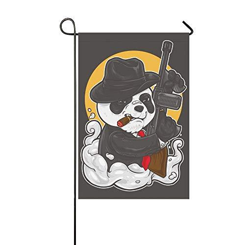 Home Dekorative Outdoor Doppelseitige Panda Mafia Outfit Halten Maschinengewehr Garten Flagge, haus Hof Flagge, garten Hof Dekorationen, saisonale Willkommen Outdoor Flagge 12 X 18 Zoll Frühling Somm