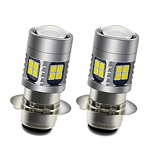 H6M LED Headlight Bulb, Ruiandsion 2pcs P15D LED Bulb DC 6V 12V Universal Super Bright 3030 22SMChips 6-30V Motorcycle LED Headlight Bulb with High Low Beam, White