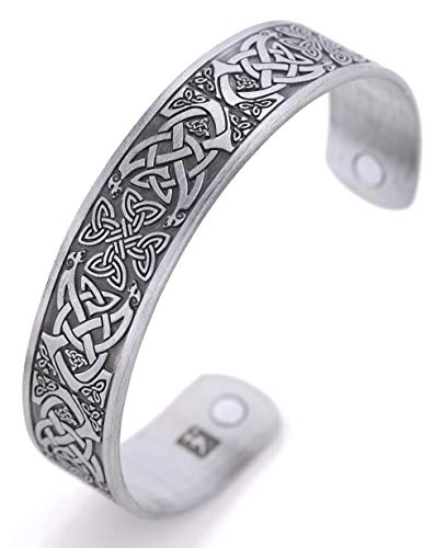 TEAMER Magnetic Bracelet Celtic Knot Irish Cross Health Care Therapy Engraved Cuff Bangle for Men (Antique Silver)