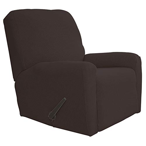 Easy-Going Recliner Stretch Sofa Slipcover Sofa Cover 4-Pieces Furniture Protector Couch Soft with Elastic Bottom Spandex Jacquard Fabric Small Checks(Recliner,Chocolate)