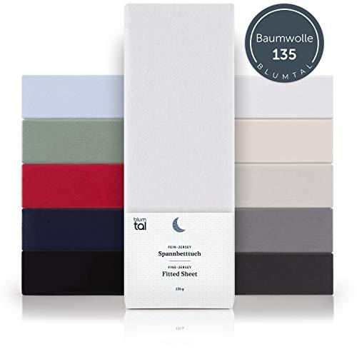 Blumtal Basics Topper Spannbettlaken 180x200cm - 100% Baumwolle Bettlaken, bis 8cm Topperhöhe, Weiß