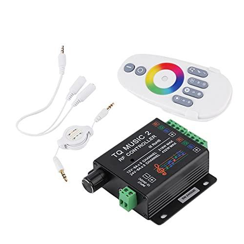 SUNXK DC12-24V 18A RGB Music Sound Controller con control remoto inalámbrico RF para luz de tira RGB LED SUNXK