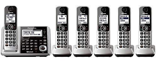 Panasonic KX-TGF375S + 1 KX-TGFA30S Handset (6 Handsets Total) Bluetooth Cordless Phone System with Dual Keypad (KX-TGF370S + 5, KX-TGF372S + 4, KX-TGF373S + 3, KX-TGF374S + 2) (Renewed)