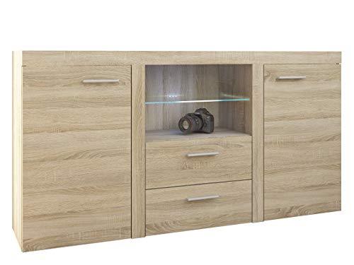 Mirjan24 Kommode Rango mit Glasboden, Highboard Sideboard, Anrichte, Naturtöne, Mehrzweckschrank, Wohnzimmerschrank, Anrichte, Schrank (ohne Beleuchtung, Sonoma Eiche)