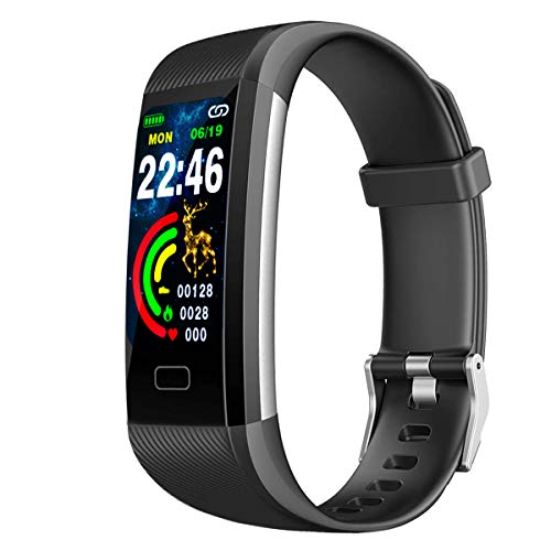 Fitness tracker, IP67 waterproof watch with exercise tracking function,blood pressure, heart rate, sleep monitoring,with pedometer, location tracking and message notification,best gift for men & women -  DINGMY