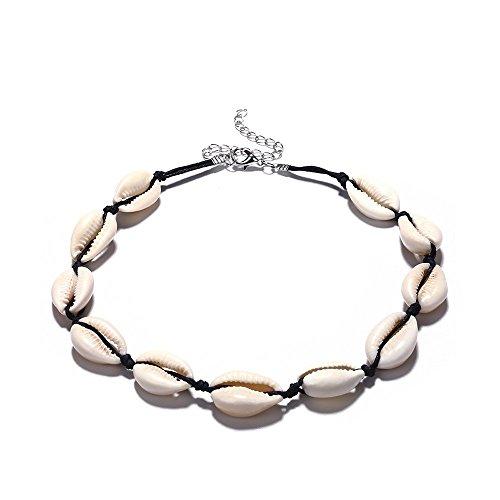 El collar de gargantilla de la playa de las perlas de la carcasa se elige a mano. La calidad de estos son geniales, hipoalergénicos y adecuados para pieles sensibles. Ligero y cómodo: este collar hecho a mano es cómodo de llevar, perfecto para la pla...