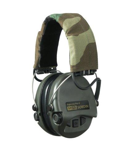 MSA Sordin Supreme Pro X | Casque Antibruit Tir Sportif | Protection Auditive avec Bandeau en Couleur Camouflage et Oreillettes Vert de Moussee | DIN en 352-1, en 352-4, en 352-6
