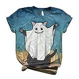 Camisetas de Halloween para mujer con estampado de calabaza y gato negro con estampado de festival de manga corta, cuello redondo, camisas sueltas, azul celeste, XS